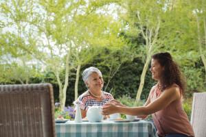 Betreuerin und ältere Dame trinken zuhause Tee